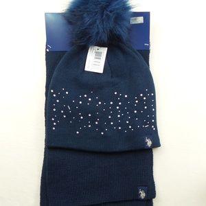 U.S. Polo Assn. Women's Scarf & Pom Pom Hat Set